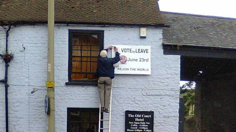 Vote Leave sign at Old Court Hotel