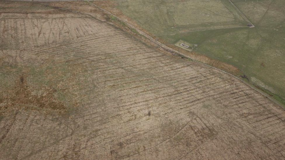 Carrawburgh Roman Fort from the air