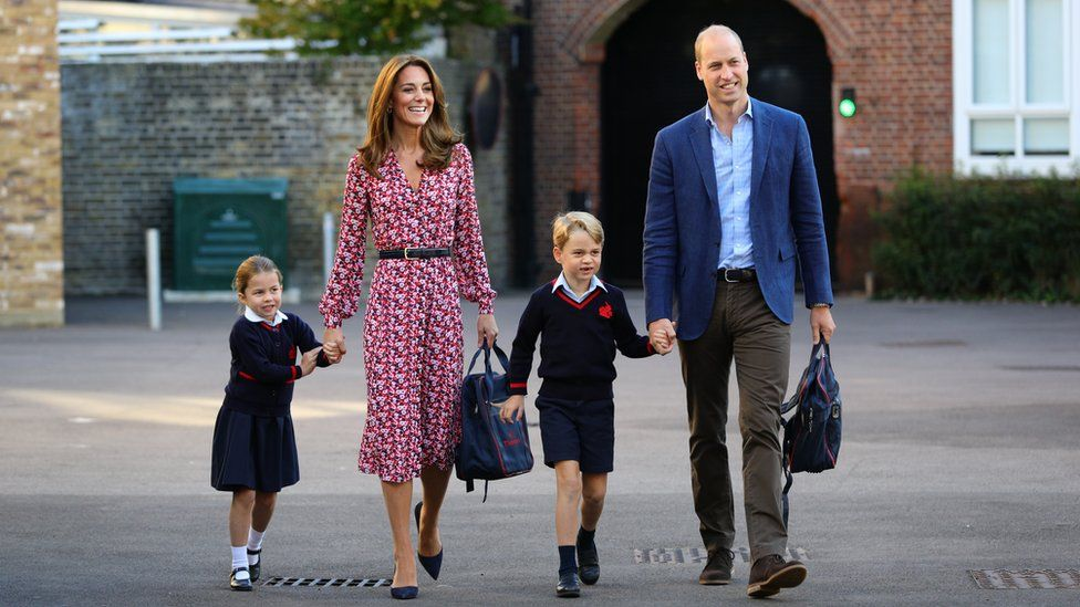 Princess Charlotte and Prince George with the Duke and Duchess of Cambridge