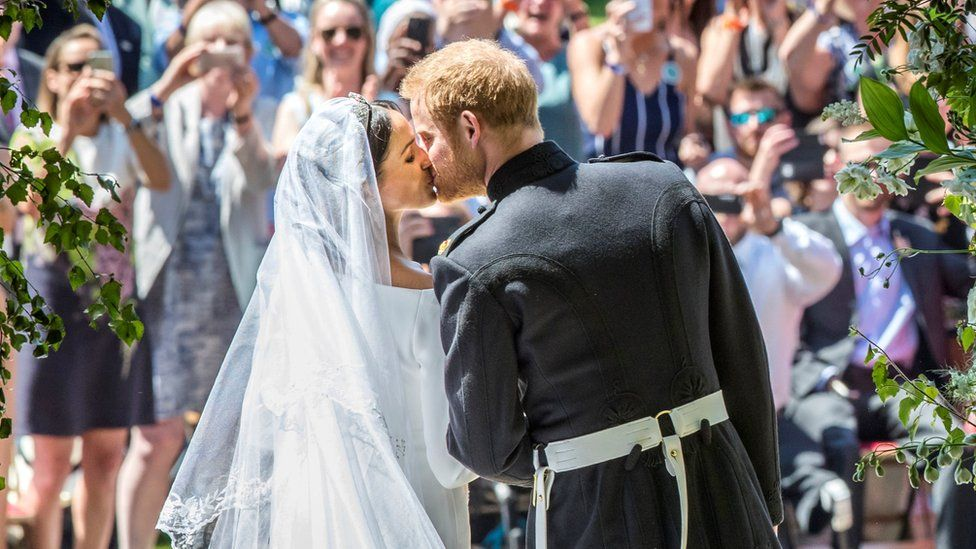 Harry and Meghan kiss on their wedding day