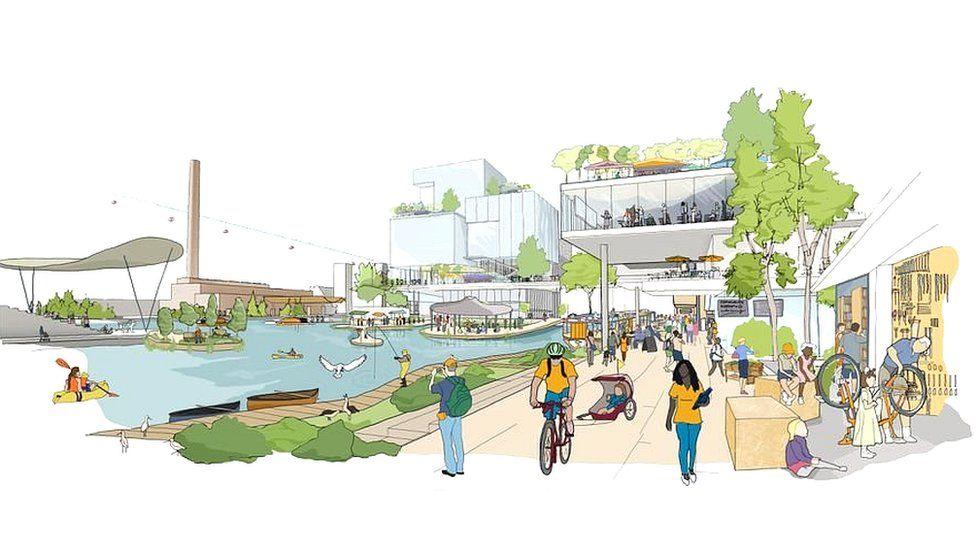 Smart city sketch shows a cyclist riding alongside a canal