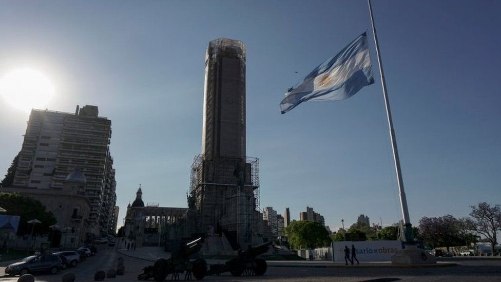 The Argentine national flag flies at half-mast in Rosario, some 350 Km north-west of Buenos Aires, Argentina on November 1, 2017 as a sign of mourning for the five Argentines dead, inhabitants of this city, during a terrorist attack in New York on October 31