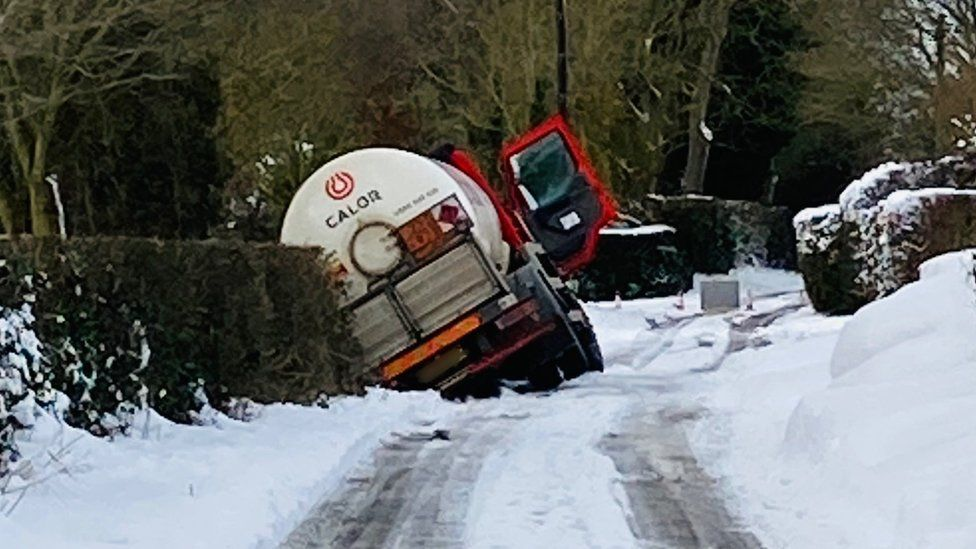 Lorry on its side