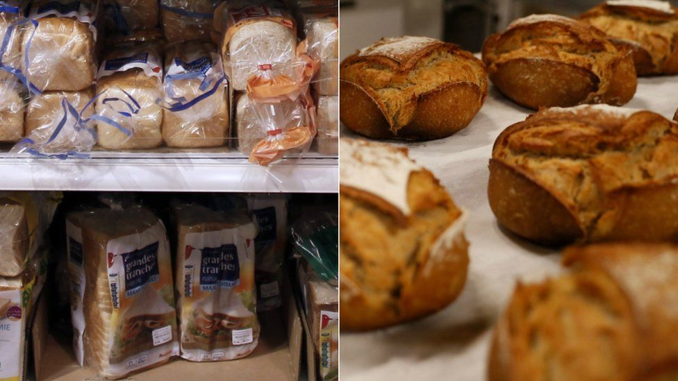 Supermarket-sliced loaves and fresh bread from a bakery