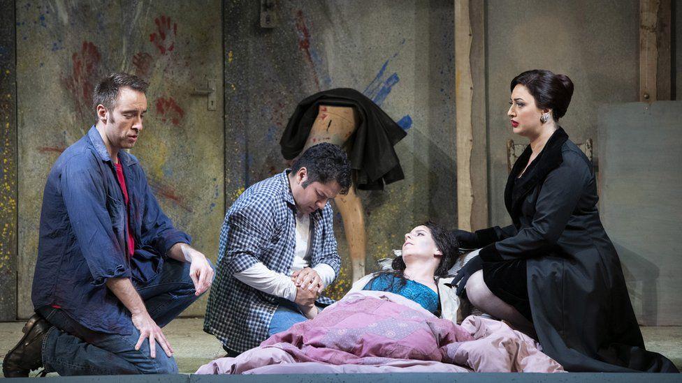 Yuriy Yurchuk as Marcello, Eleazar Rodriguez as Rodolfo, Lauren Fagan as Mimì and Anush Hovhannisyan as Musetta