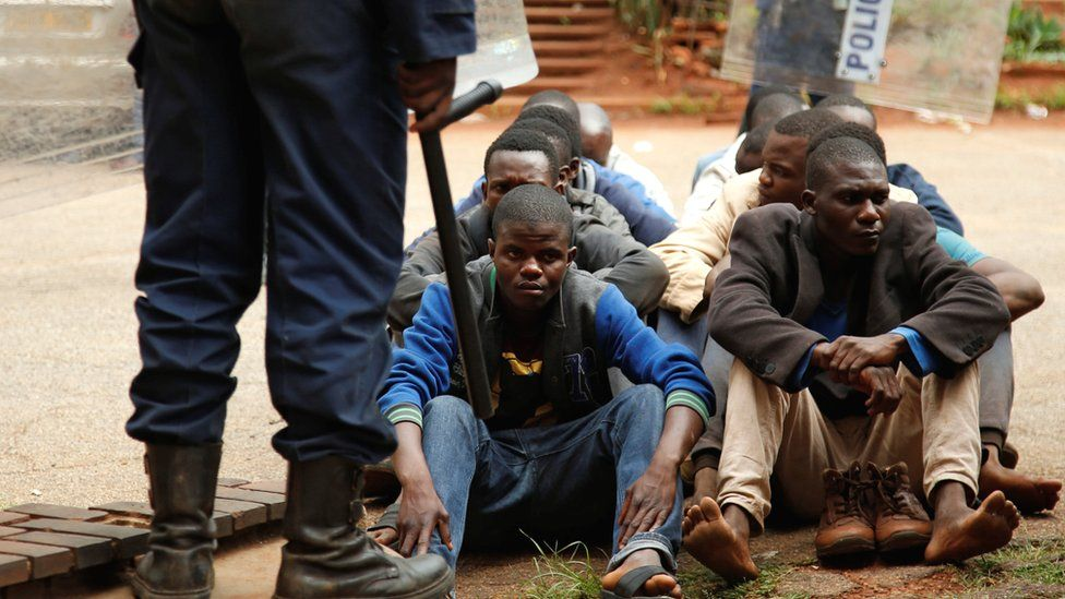 People arrested during protests wait to appear in the Magistrates court in Harare, Zimbabwe -16 January 2019