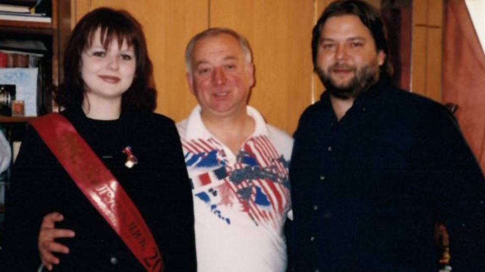 Sergei Skripal with his daughter Yulia, and now deceased son Alexander, known as Sasha (right)
