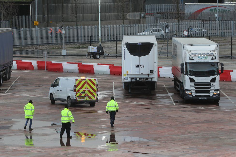 Lorries at a customs checkpoint at Belfast Port