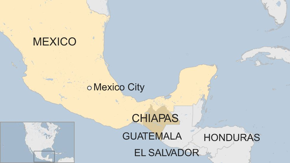 Map of southern Mexico and Central America