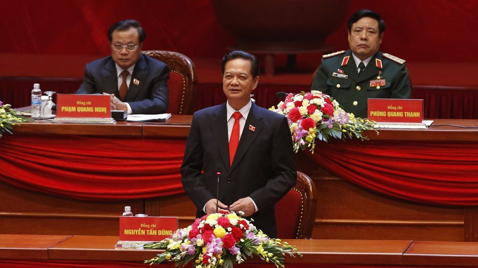Vietnam's Prime Minister Nguyen Tan Dung (C, bottom) speaks the opening ceremony of the 12th National Congress of Vietnam's Communist Party in Hanoi on 21 January 2016