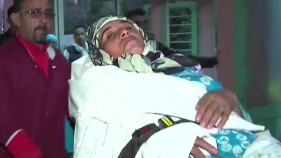 An injured woman in Sidi Boulaalam
