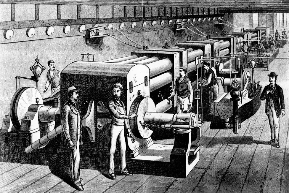 An illustration showing the Pearl Street Station Central Power Plant in the 1880s