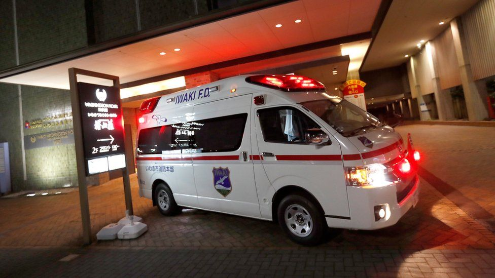 Ambulance in Fukushima pictured after the earthquake