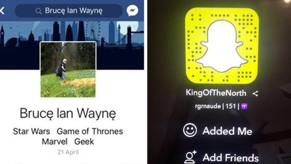 Naude's fake social media profiles