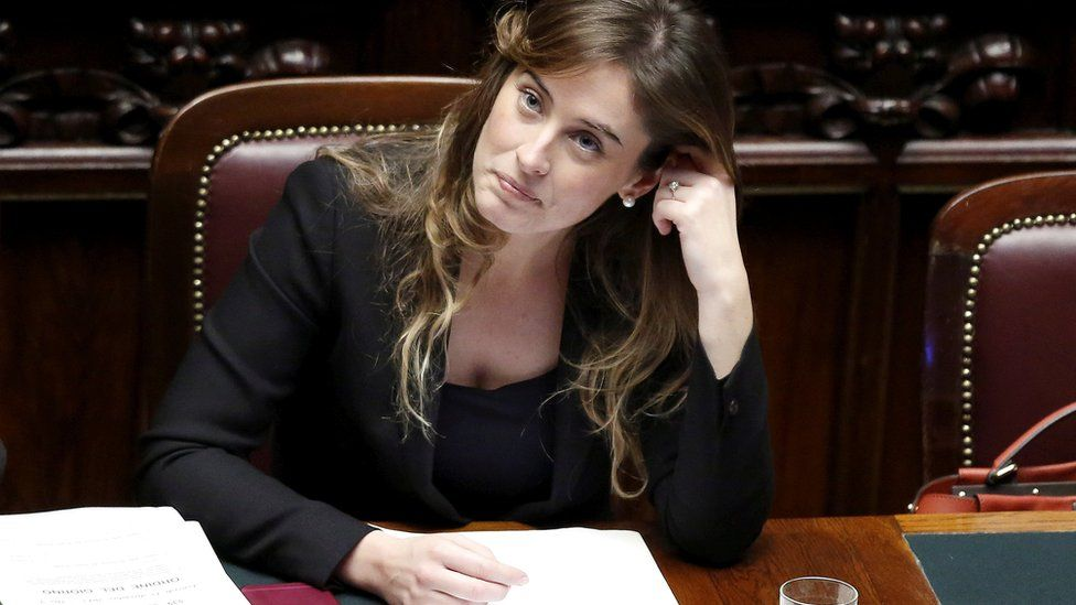 Italian minister Maria Elena Boschi listens to a parliamentary debate