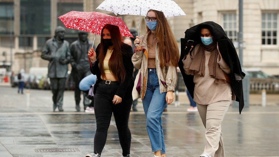 Students in the rain