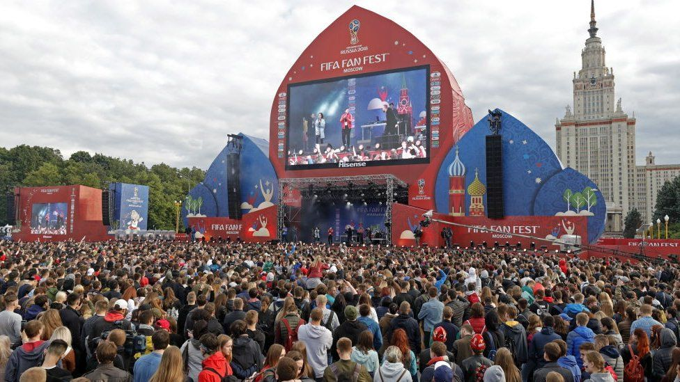 People attend the opening of the FIFA Fan Fest on Vorobyovy Gory (Sparrow Hills) ahead of the 2018 FIFA World Cup.