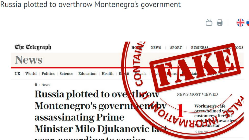 """A headline from the Daily Telegraph about an alleged Russian plot to over throw Montenegro's government, listed as """"fake"""" on the Russian Foreign Ministry website"""