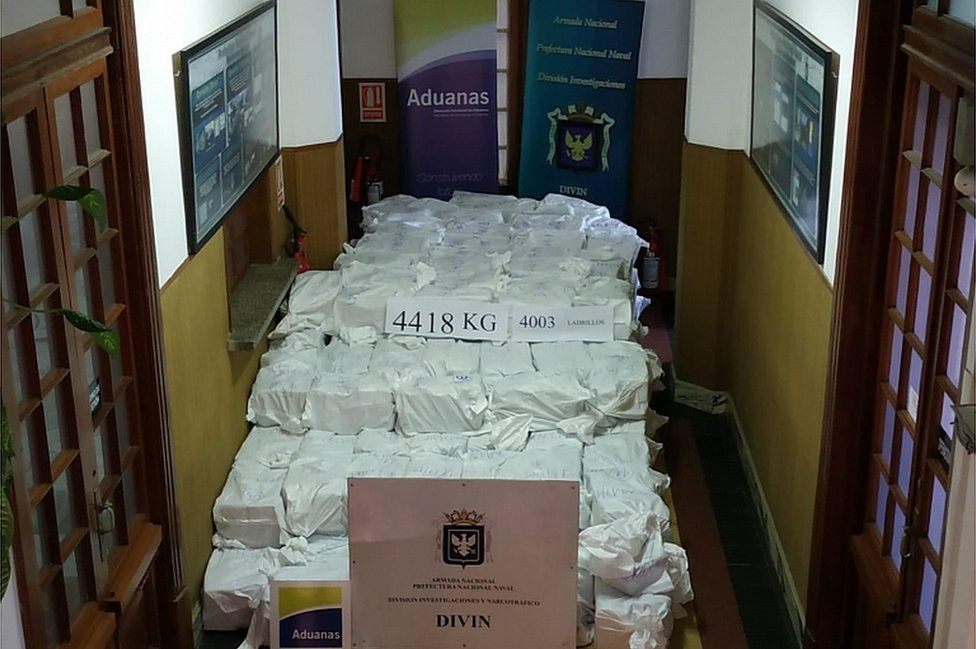 Uruguay's Navy shows cocaine seized at Montevideo's port on December 27, 2019