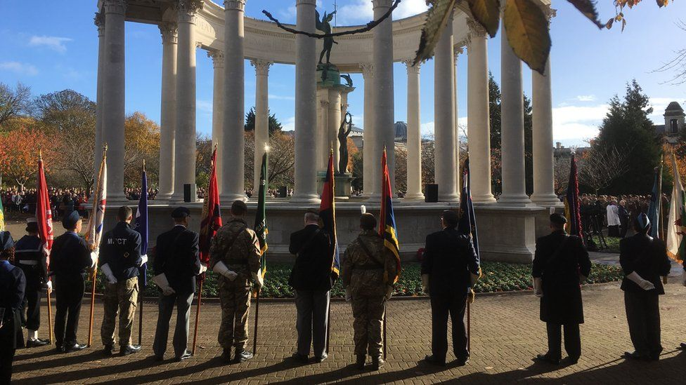 Servicemen and women in Cathays Park for Armistice Day