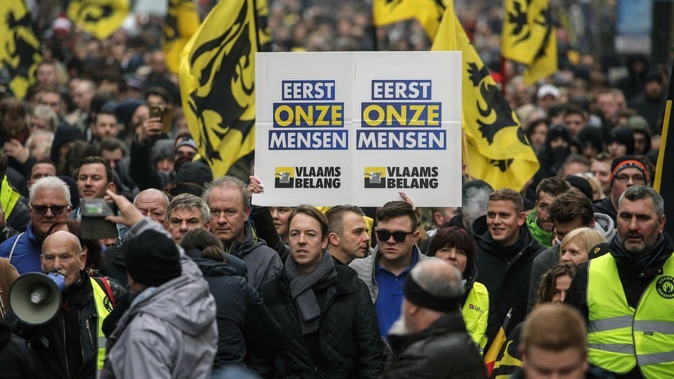 Protesters in Brussels march against the UN migration pact