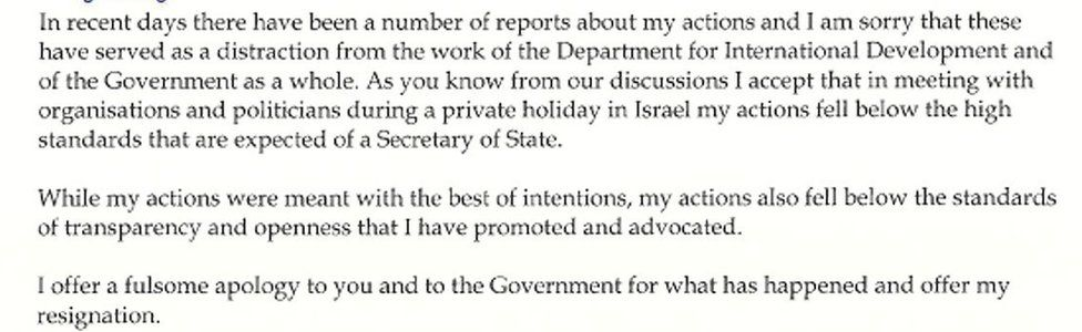 Extract from Priti Patel's resignation letter