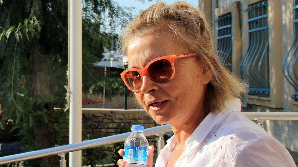 Journalist Nazli Ilicak is pictured on 26 Jul 16 after being detained by Turkish police