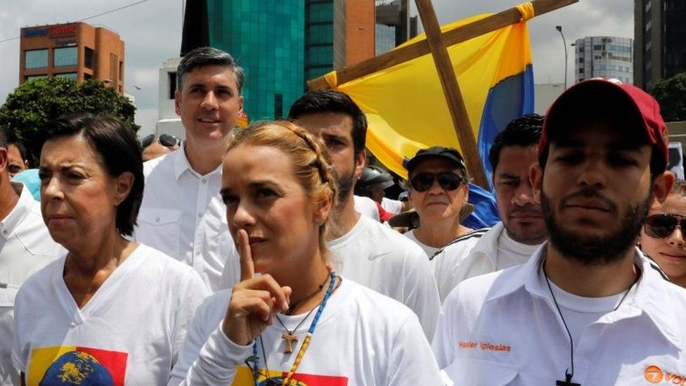 Lilian Tintori, wife of jailed opposition leader Leopoldo Lopez, at Caracas rally 22 April 2017