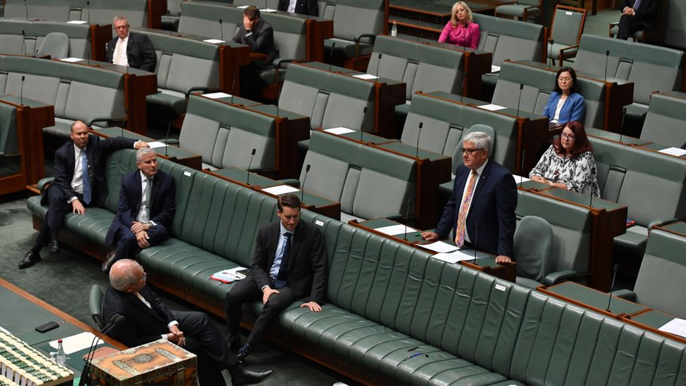 Members of the government speak in the lower house of parliament