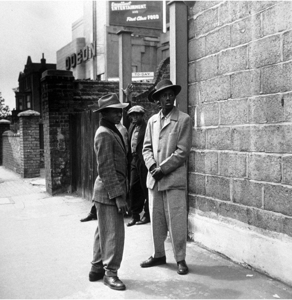 Immigrants from Jamaica are seen on the streets of Clapham, London