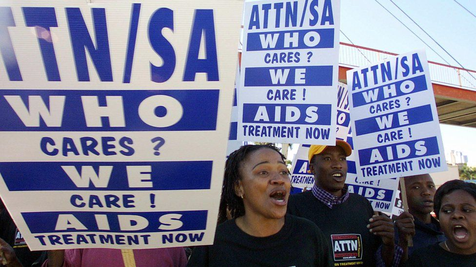 Hundreds of Anti-AIDS activists from the Aids Therapeutic Treatment Now (ATTN) march to protest the inaction of the South African government in providing anti-retroviral drugs to those infected with the HIV virus, 03 August 2003 in Durban.