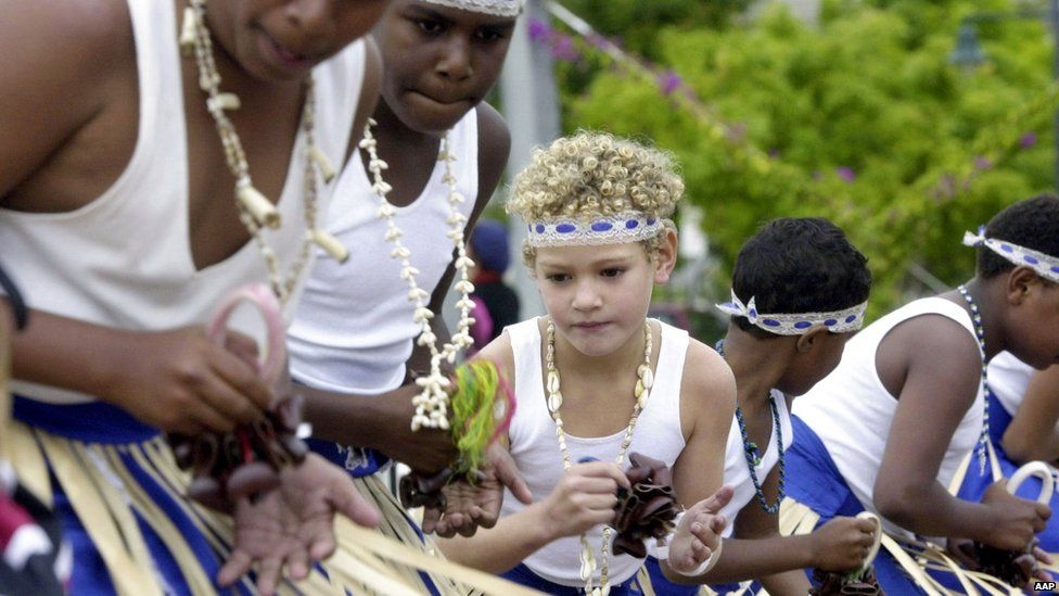 Young Torres Strait Islanders performing a traditional dance