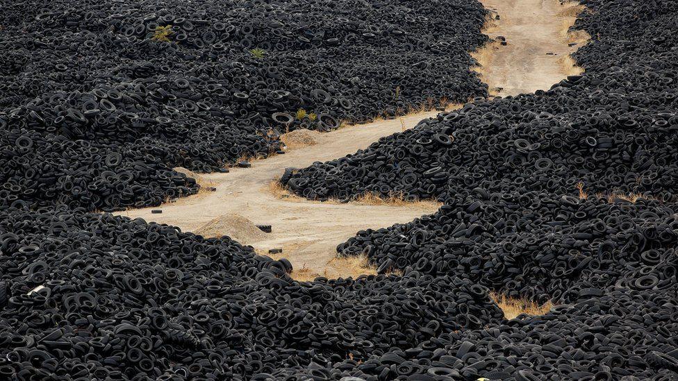 Huge tyre dump near Madrid, Spain