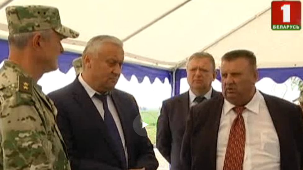 Khutor-Agro farm managers and Interior Minister Ihar Shunievich (left),Belarus, August 2017
