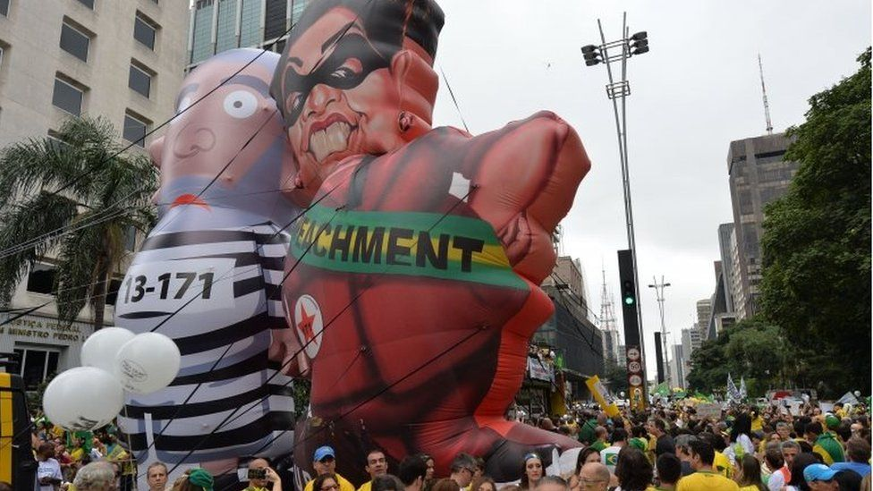Demonstrators protest against Brazilian President Dilma Rousseff and the ruling Workers' Party (PT) at Paulista Avenue in Sao Paulo, Brazil on March 13, 2016.