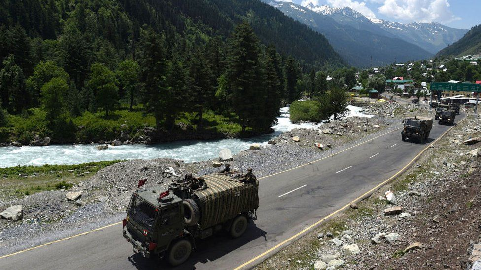An Indian Army convoy moves along a highway leading to Ladakh, at Gagangeer on June 17, 2020 in Ganderbal, India.