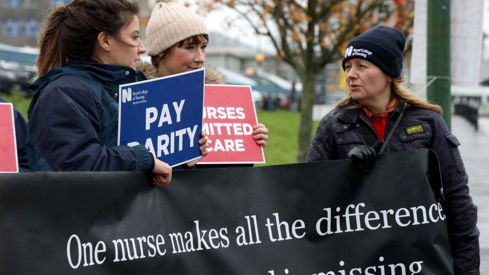 Nurses, healthcare assistants and RCN staff protesting outside the Ulster Hospital