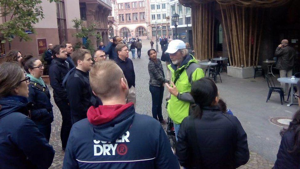 David Ator leading a tour of Frankfurt