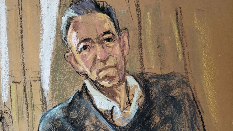 Court artist's depiction of Bruce Springsteen at the online hearing
