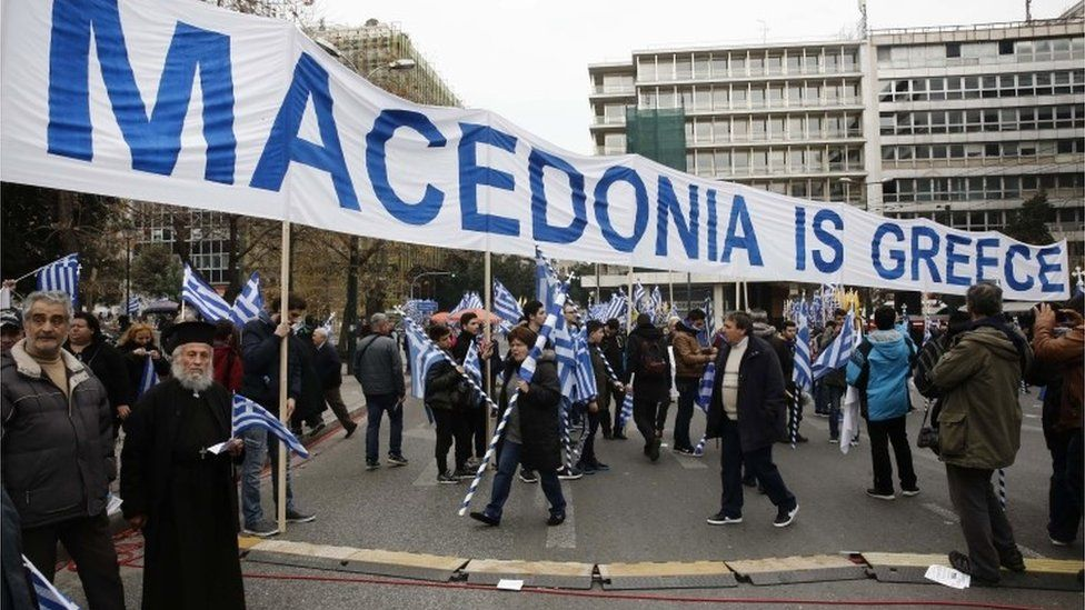 Greeks protesting in Athens, 4 February 2018