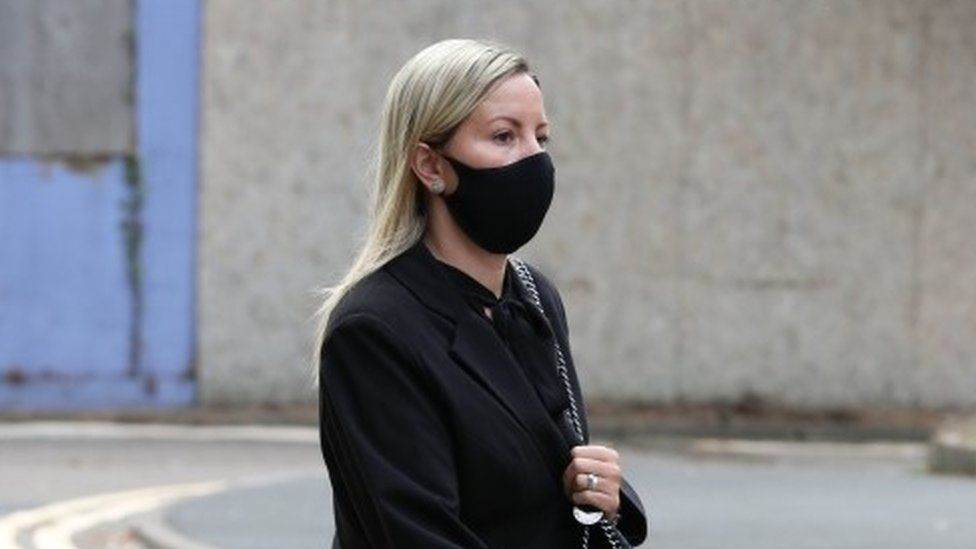Teacher Kandice Barber, 35, arrives at Aylesbury Crown Court, Buckinghamshire