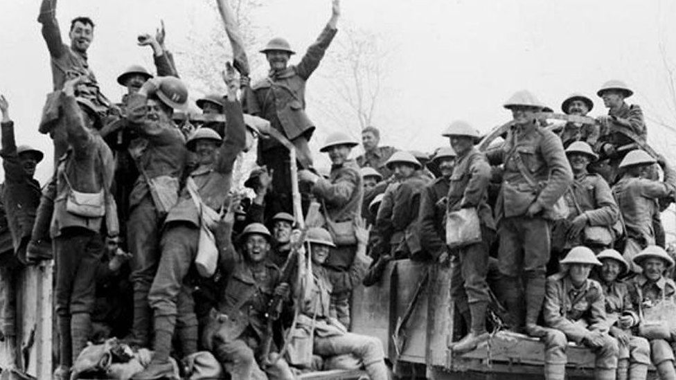 Canadian soldiers celebrate victory at Vimy Ridge