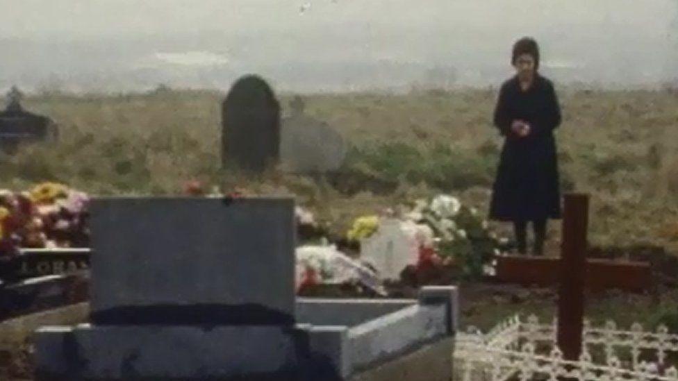 Sarah Conlon at her husband's grave