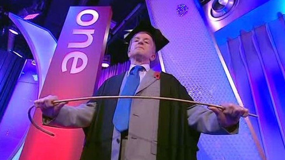Simon Warr with cane on the One Show