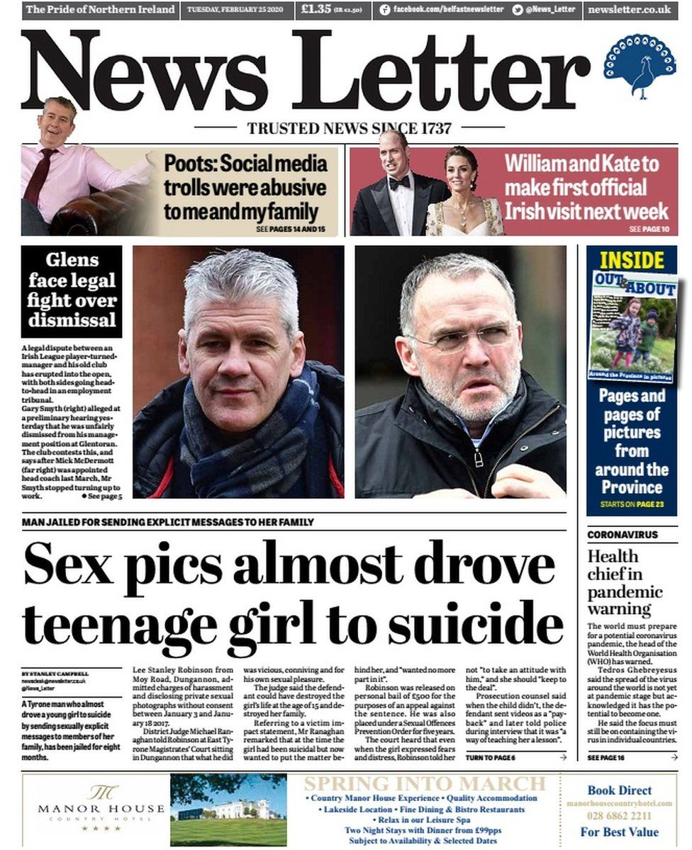 Front page of Tuesday's News Letter