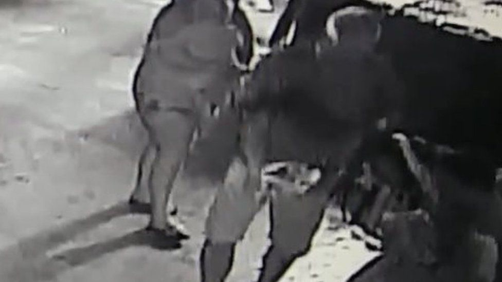 A man is seen carrying a horn shark in a wet towel in CCTV footage