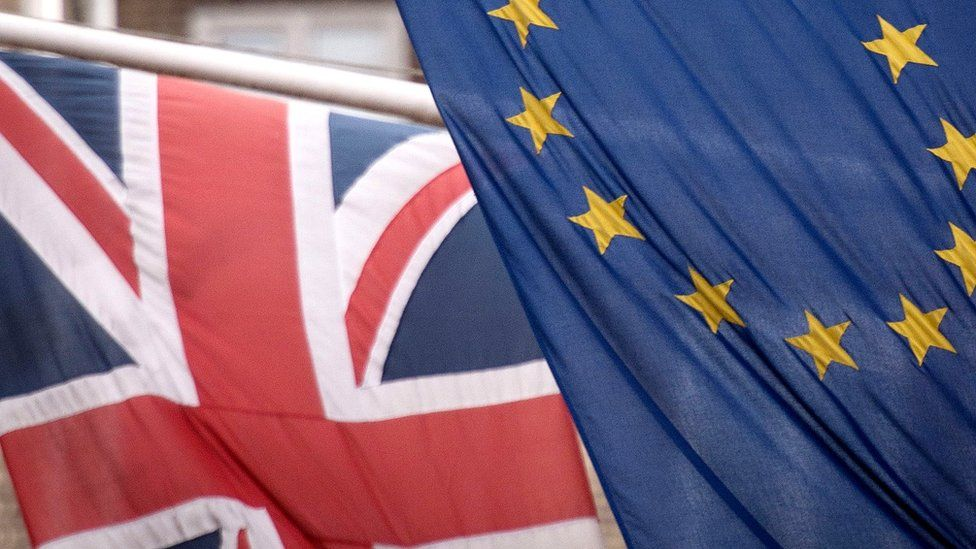 File image of British and EU flags