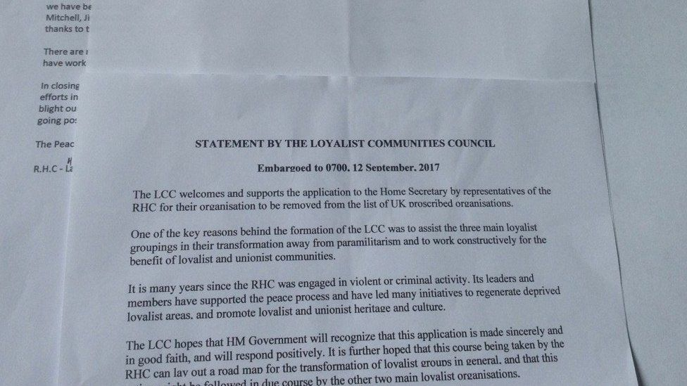 A letter from the Loyalist Communities Council in support of the Red Hand Commando move