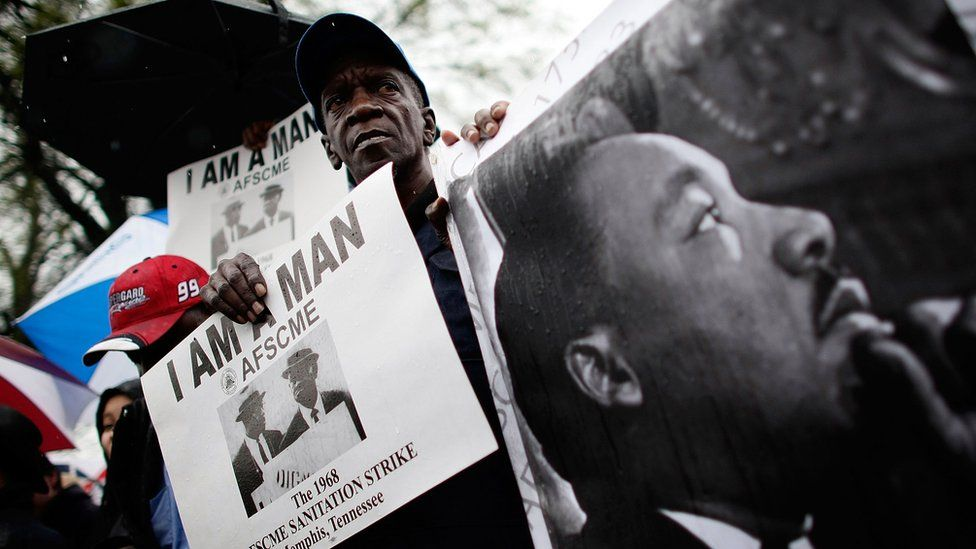 Members of the Memphis group 'Beloved Community' take part in a march to the Lorraine Hotel, the site where Martin Luther King Jr. was killed, as part of the opening event marking the slain civil rights leader's death April 4, 2008 in Memphis, Tennessee.