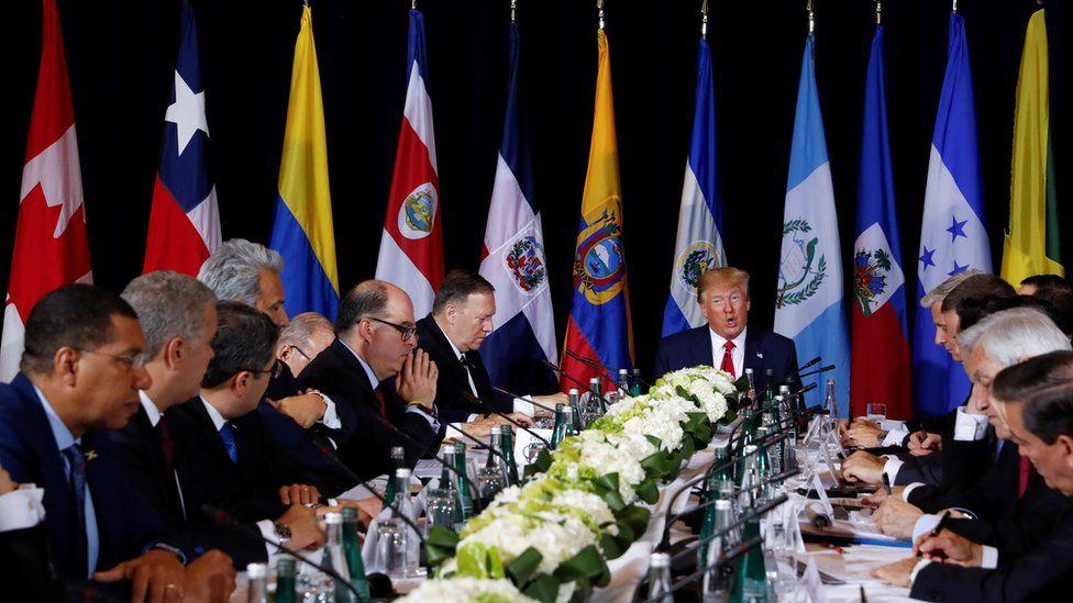 Donald Trump reunido en Naciones Unidas con líderes latinoamericanos.